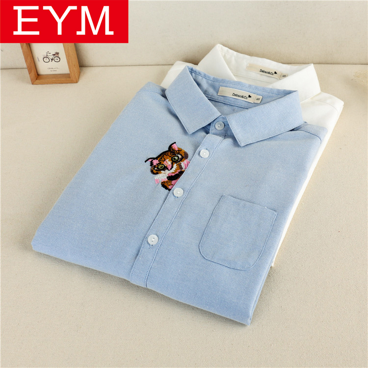 EYM Brand   Blouse     Shirt   Women 2018 New Long Sleeve Ladies Tops Solid White Casual Oxford Embroidery   Shirts   Women's Clothes Blusas