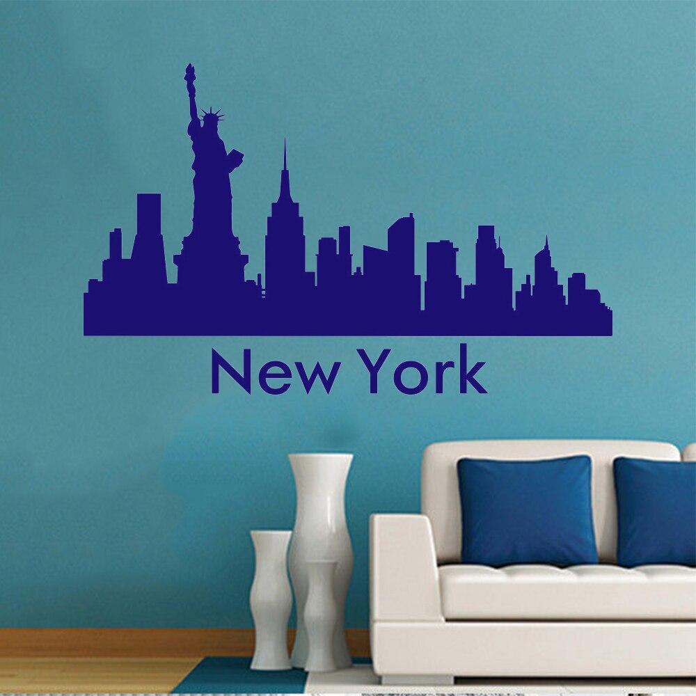 new york city skyline the wall sticker art mural city silhouette