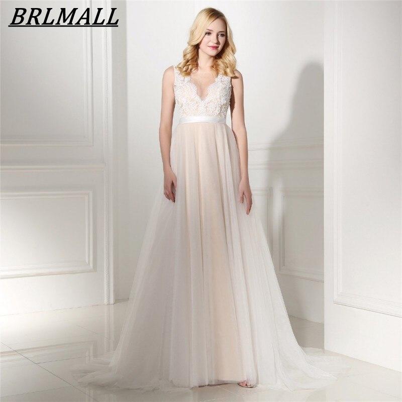 Vestido De Noiva 2017 New Elegant Lace Applique Tulle: BRLMALL Romantic Lace Appliques Bohemia Beach Wedding