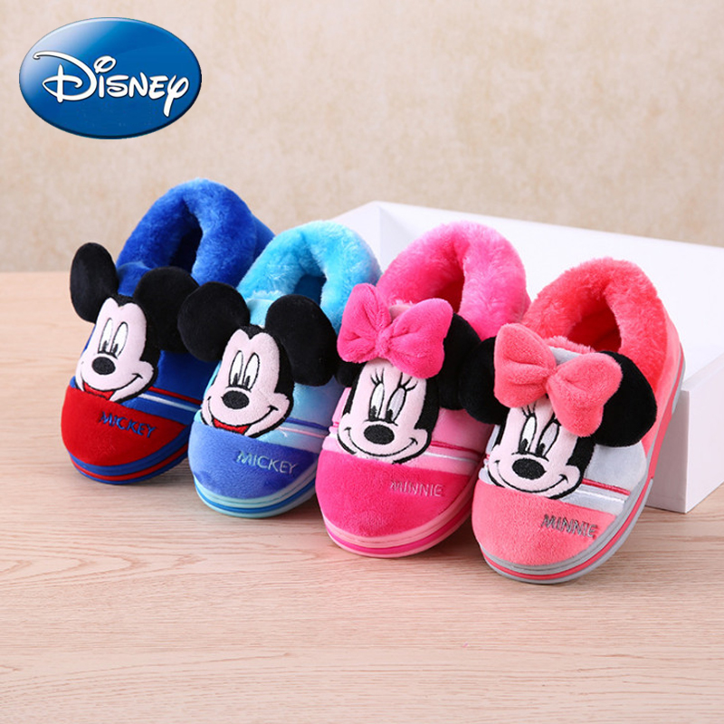 Disney Cartoon Cotton Indoor Slippers Minnie Warm Home Shoes 2018 New Non-slip Boys Girl  Slipper Mickey Plush Autumn Winter