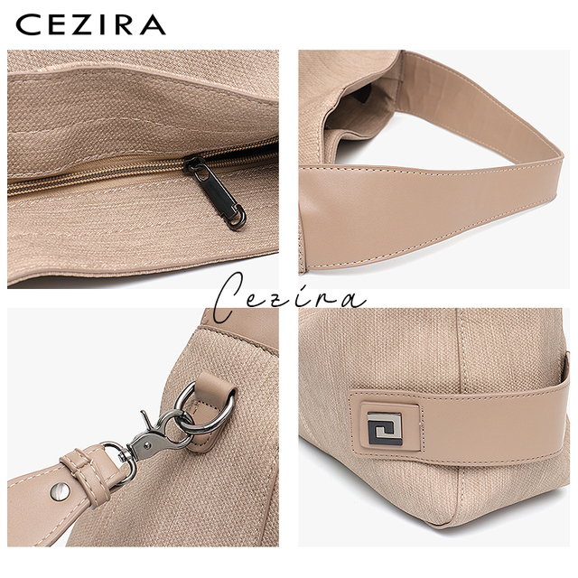 CEZIRA Casual Large Hobo for Women High Quality Vegan Leather Handbags Female Shoulder Bag  Ladies Fashion design Messenger Bag 2