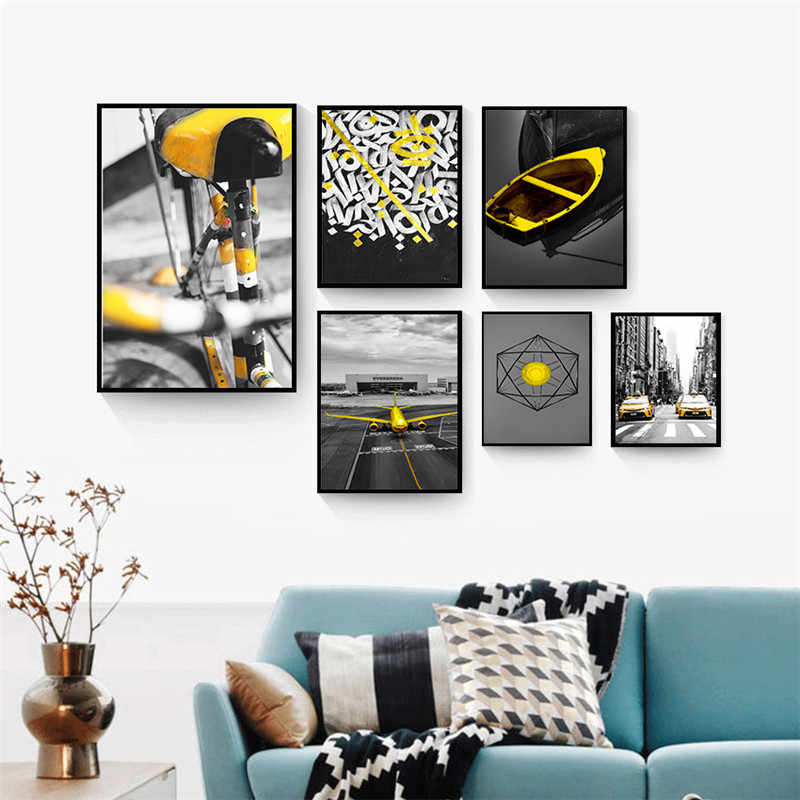 Nordic Home Wall Art Decor Prints Nordic Canvas Painting Yellow Still Life Living Room Picture Scenery Minimalist Decor Painting