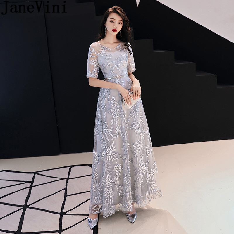 JaneVini 2019 Shinning Silver Gray Prom   Dresses   With Sleeves Bling Sequins V-Neck A Line Wedding Party Formal   Bridesmaids     Dress