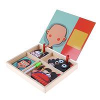 赤ちゃん木製磁気パズルボードのおもちゃ子供ドレスアップゲーム早期教育ジグソーパズルパズルキッズファニー誕生日プレゼント