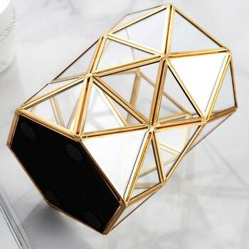 Goud Glas Opslag Houder Nordic Make Organizer Cosmetische Diversen Dessertbord Metalen Decoratieve Lade Badkamer Home Decor B232