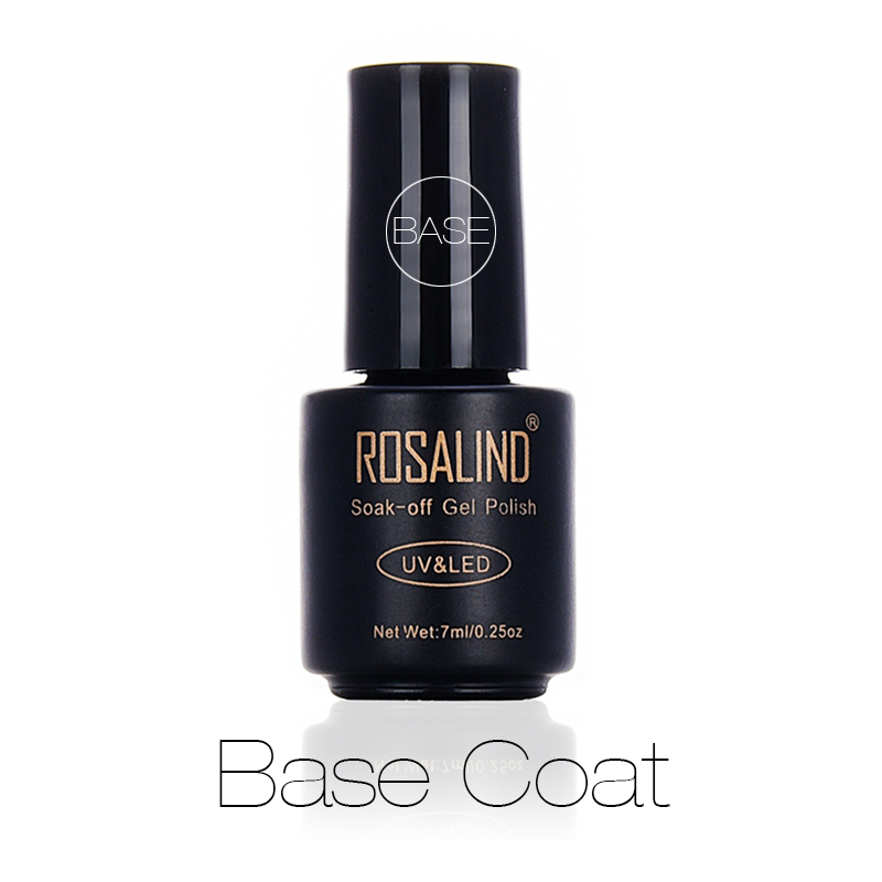 Rosalind Nail Base Coat 7ml Shiny Sealer Manicure Soak Off UV Top Base Long Lasting Nails Primer Gel Varnishes