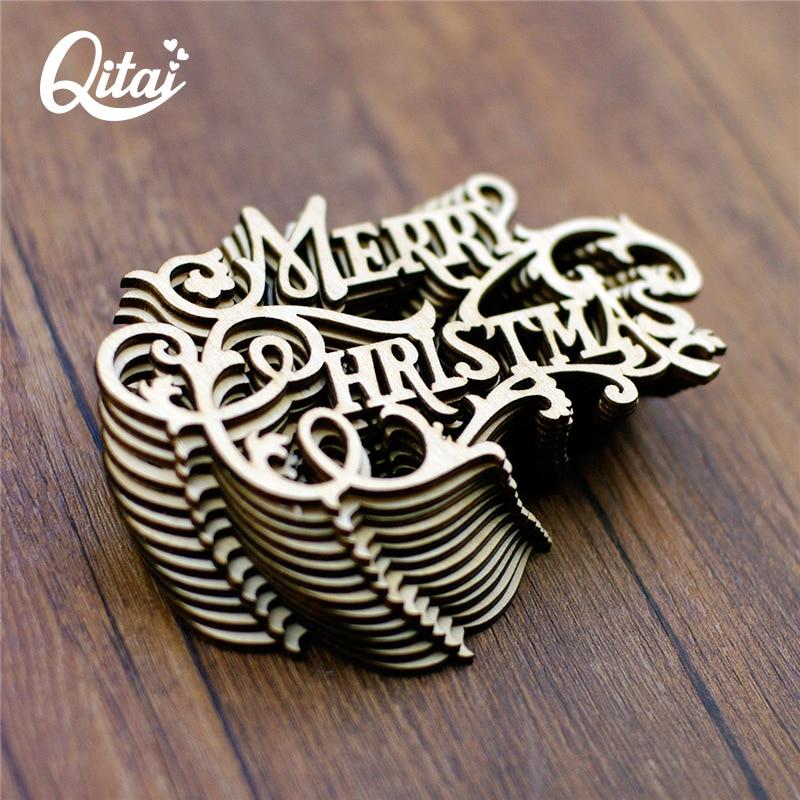 QITAI 12Pcs / Lot Весела Коледа Направи си сам скрапбукинг Дървена декорация Дървени занаяти Украса за маса / врати Ваканционни пособия wf272
