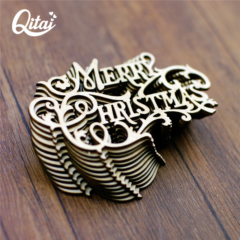 QITAI 12Pcs / παρτίδα Καλά Χριστούγεννα DIY Scrapbooking Ξύλινη διακόσμηση Ξυλεία Χειροτεχνία Πίνακας / Πόρτα Διακοσμήσεις Προμήθειες διακοπών wf272