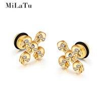 MiLaTu Punk Men Women Skull Cross Stud Earrings Stainless Steel Cubic Zirconia Earrings Men Women Club