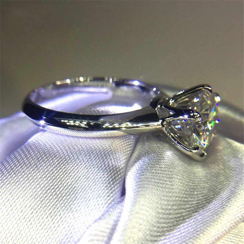 Solitaire 100% Solid 925 แหวนเงินแท้ 1CT Sona 5A zircon หิน CZ งานแต่งงานแหวนผู้หญิงผู้ชายเครื่องประดับ