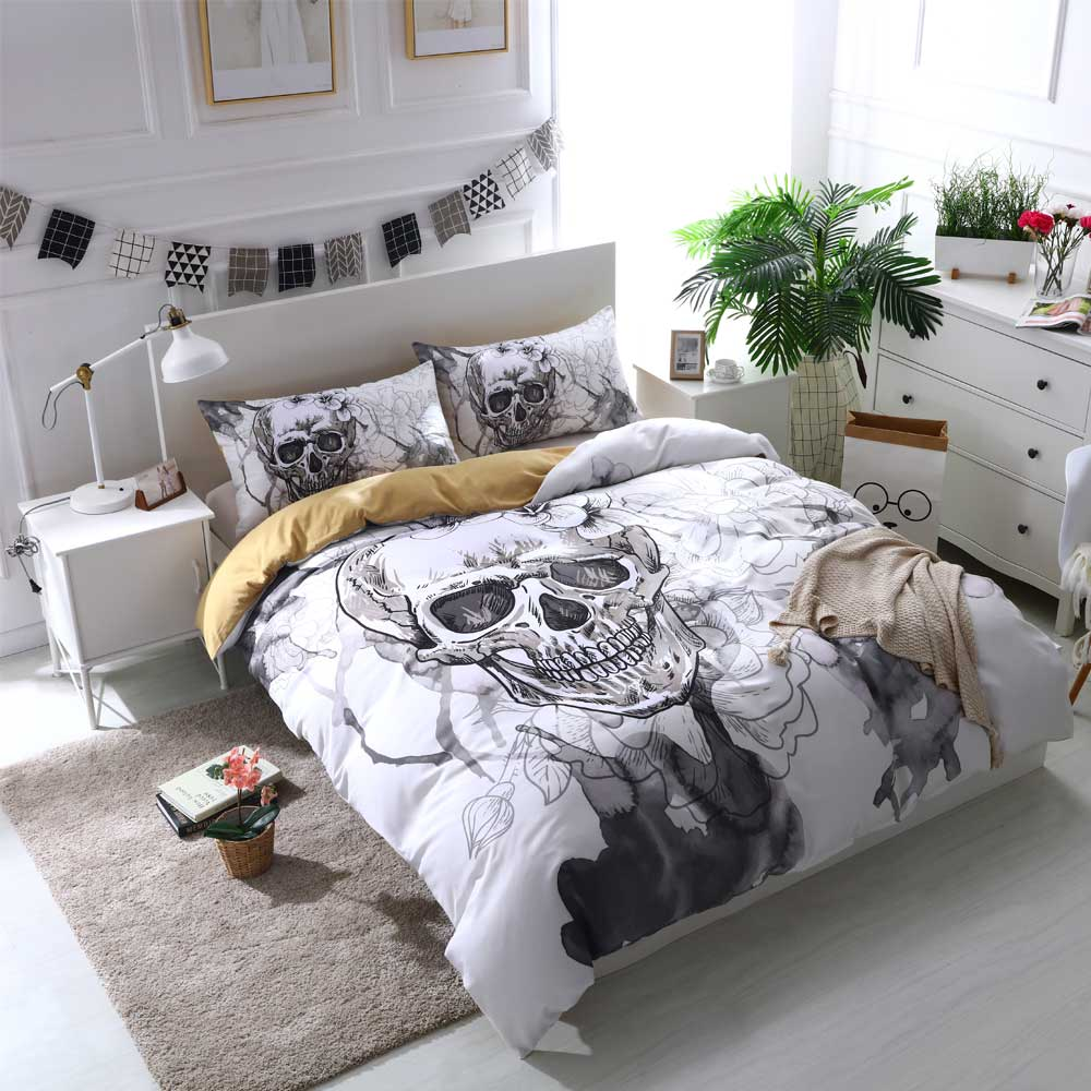 Cilected Grey White Skull Single Bed Sheet 1pc Polyester Flat Sheet