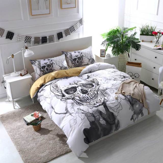 Cilected Grey White Skull Single Bed Sheet 1pc Polyester Flat Bedding Protector Watercolor Flowers Printed