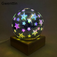 3D Illusion Fireworks Star Night Lights Led USB Lamps Wood Glass Ball Night Lamp for Bedroom Bedside Baby Kids Light Luminaria