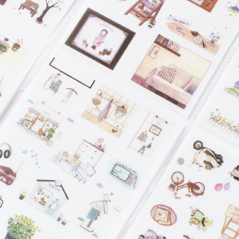 6 Pcs/pack  Leisure Time Stickers Diary Sticker Scrapbook Decoration PVC Stationery Stickers