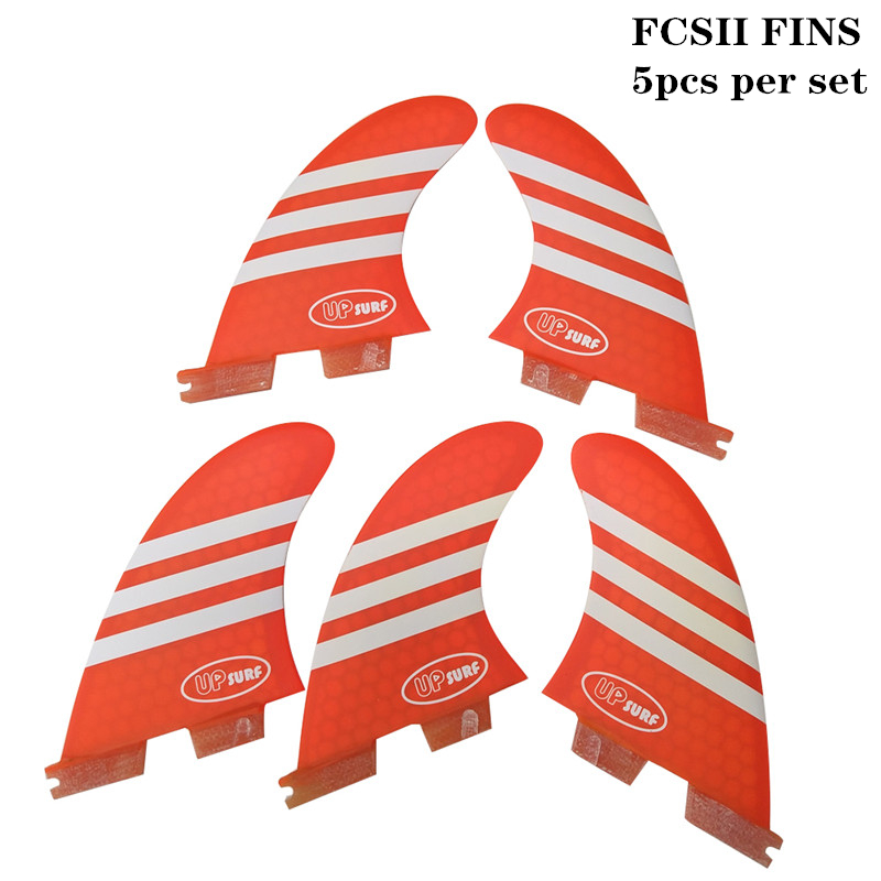 Surf FCSII K2 1 Quilhas Honeycomb Fins fibreglass 5pcs per set Surfboard FCS2 Fins Surfing Blue