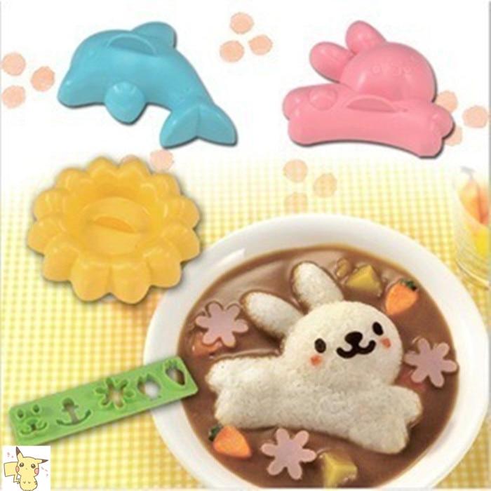 4pc Sunflower Rabbit Dolphin Rice Sushi Mold Onigiri Mould