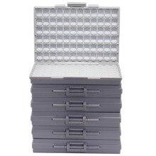 AideTek 6 SMT SMD резистор конденсатор коробка для хранения Органайзер 1206 0603 0805 0402 0201 крошечные пластиковые части коробки этикетки 6 коробок
