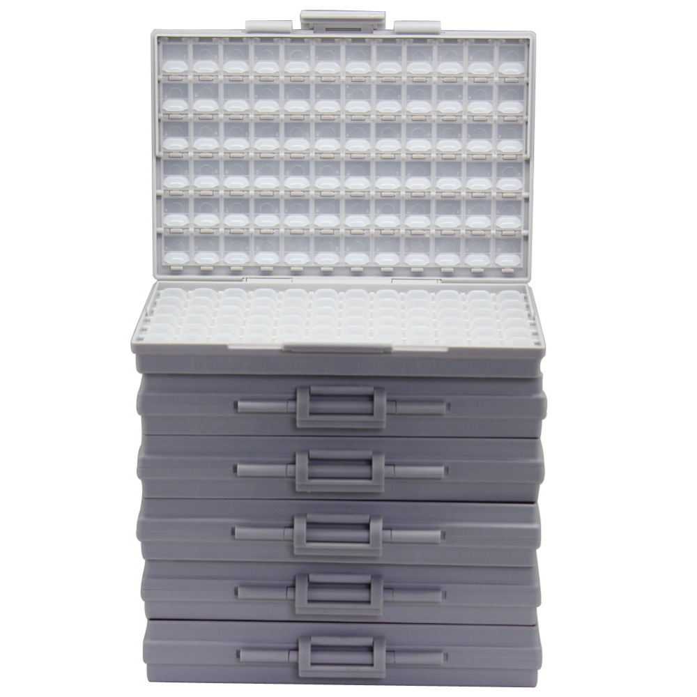 AideTek 6 SMT SMD Resistor Capacitor Storage Box Organizer 1206 0603 0805 0402 0201 Tiny Plastic Part Box Lable 6BOXALL