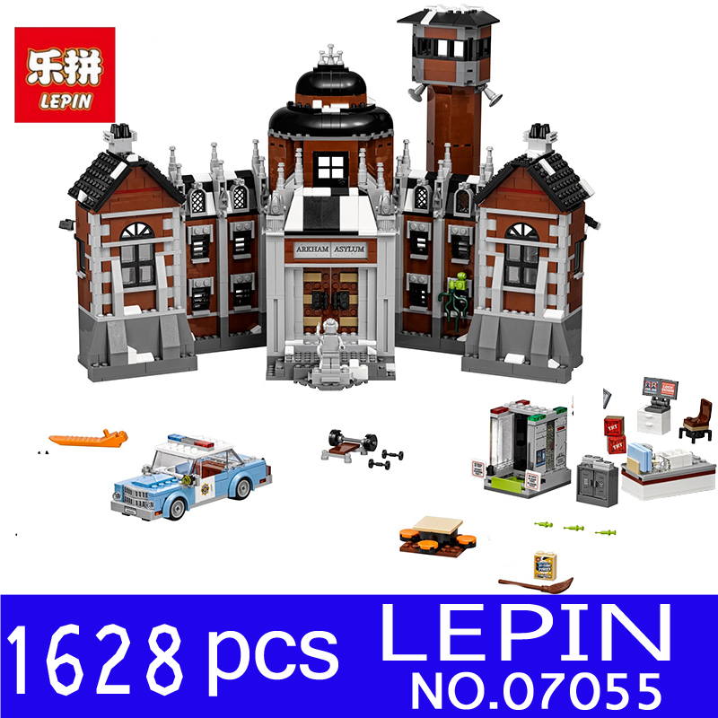 LEPIN 07055 1628Pcs Genuine Batman Movie Series The Arkham`s Lunatic Asylum Set Building Blocks Bricks Toys for Children 70912 lepin 07055 1628pcs genuine batman movie series the arkham s lunatic asylum set building blocks bricks toys for children 70912