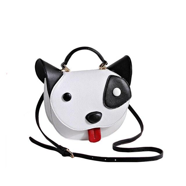 Cute Black And White Pet Dog Handbag Women Cartoon Animal Shoulder Bag Funny Head Tote