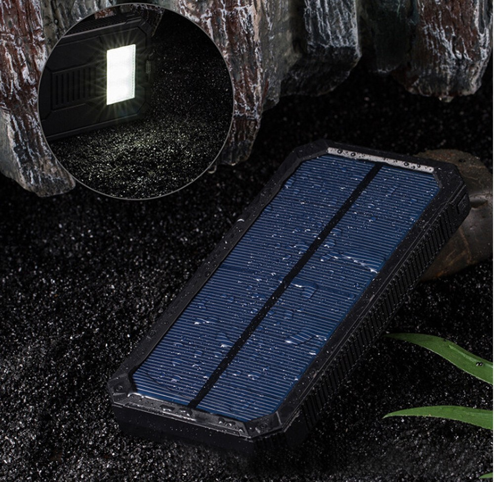 Solar alternative battery phone dual USB replacement battery phone 20000mAh waterproof power solar panel with LED ...