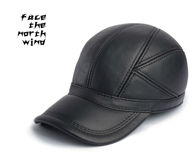 High-grade head layer cowhide baseball cap Winter leisure hat Leather hats  wholesale Men s winter 8e2754ff8d7