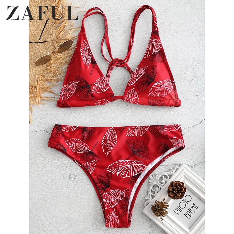 ZAFUL Floral Crisscross Underwire Women Bikini Set Spaghetti Straps Padded Brazilian Biquini Casual Beachwear Swimsuit 2019ZAFUL Floral Crisscross Underwire Women Bikini Set Spaghetti Straps Padded Brazilian Biquini Casual Beachwear Swimsuit 2019
