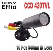 IR 420TVL CCD Mini Bullet Camera waterpro Outdoor Invisible 10pcs IR 940NM 0 lux Night Vision CCTV mini Camera with 1/3″ CCD