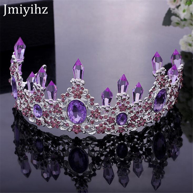 Jmiyihz Luxury Purple Crystal Tiaras And Crowns Hair Jewelry Flower Bridal Crown Wedding Accessories Tiara Bride Supplies