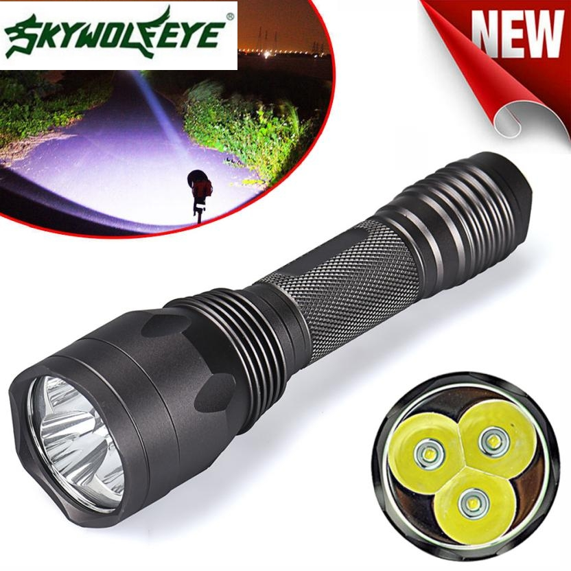 JA 6 Shining Hot Selling Fast Shipping Super Bright 8000Lm 3x CREE XM-L T6 LED 5-Mode 18650 Flashlight Torch Light Lamp 950lm 3 mode white bicycle headlamp w cree xm l t6 black silver 2 x 18650