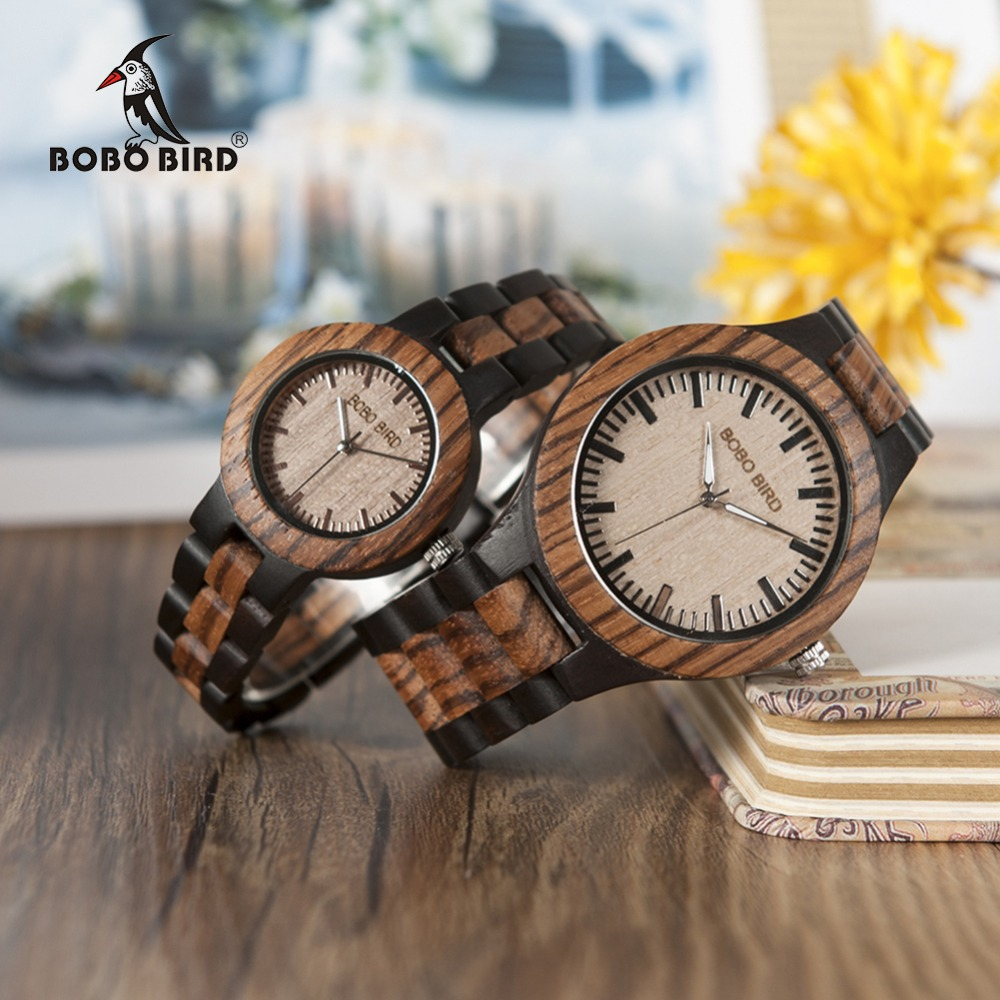 BOBO BIRD N28N30 Zebra Ebony Wooden Watches for Men Women Two-tone Quartz Lovers Watch with Tool for Adjusting Size Wood Box plus size button detail two tone top