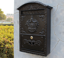 Cast Iron Mailbox Postbox Embossed Trim Decor Metal Mail Post Letters Box for Yard Patio Lawn Garden Outdoor Wall Free Shipping