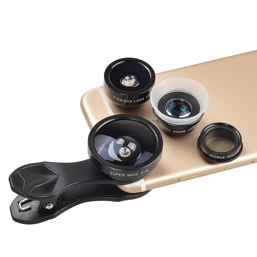 APEXEL Fish Eye+ Wide Angle+Macro+CPL filter camera Lens Kit for iPhone 7/7plus/6S Plus Samsung XiaomiRedMi HTC Phones 5in1 9