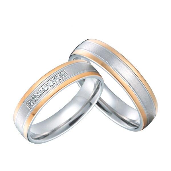Лучший юбилей Подарочный розово золотой цвет титановые Ювелирные изделия на заказ западное свадебное кольцо влюбленных наборы для пар