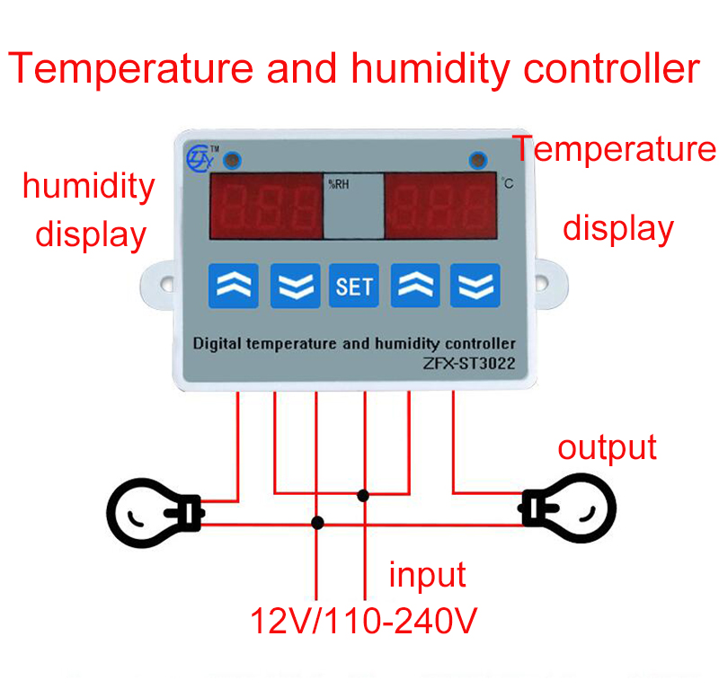 2 in 1 Digital display Temperature humidity Controller thermostat ...