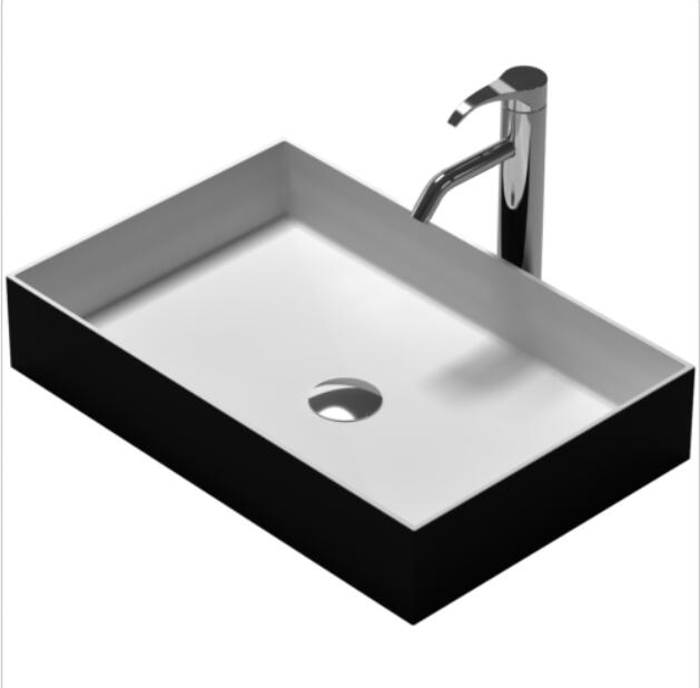 Rectangular Black solid surface stone counter top Vessel sink fashionable Corian washbasin RS38337 682