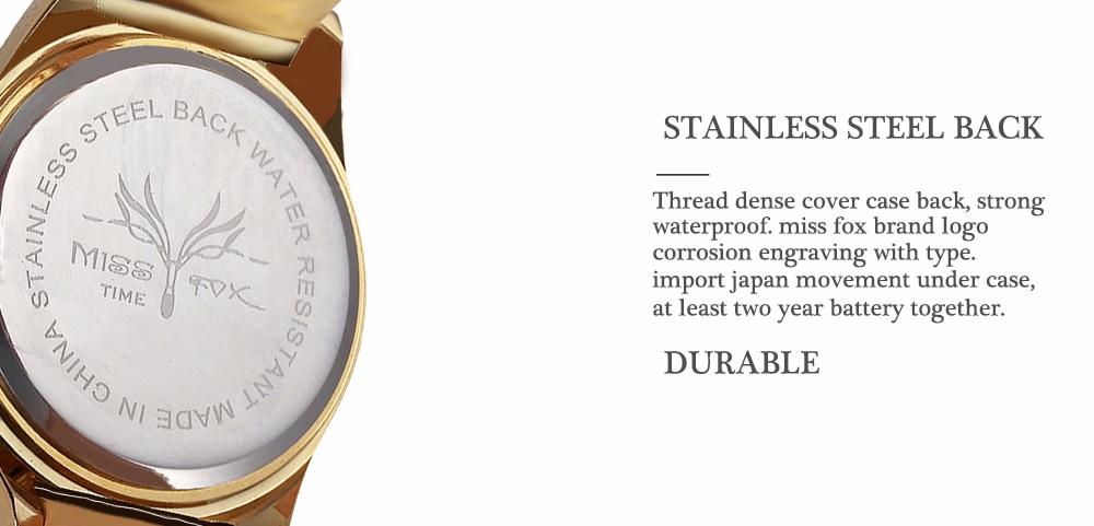 37e6b39d447 Senhorita Fox Marca Relógio de Quartzo Das Senhoras Meninas Das Mulheres  Relógio de Pulso de Aço Inoxidável de Ouro Relógios de Pulso de Moda  Diamante ...