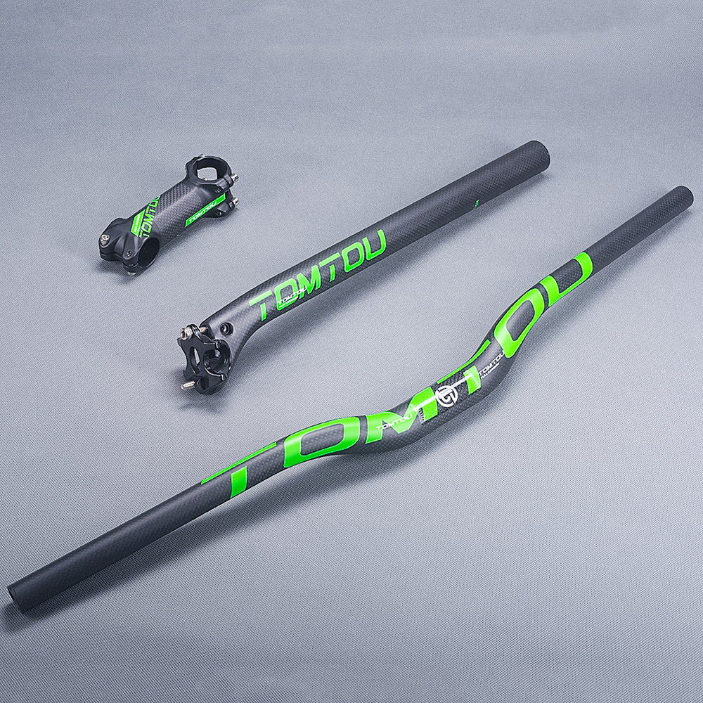 TOMTOU Cycling Mountain Bike Handlebar Set 3K Carbon Fiber Matte Green MTB Bicycle Handlebars + Seatpost + Stem - TG1T23 cycling king c k 2015 mtb handlebar bicycle stem carbon seatpost tube flat or riser mountain bike bar top carbon super set