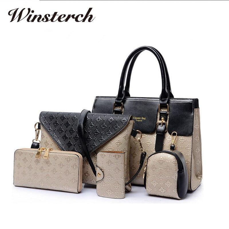 2017 5pcs set Vintage Women Messenger Handbag Composite Bags Embossed Leather Crossbody Shoulder Bag Ladies Handbags