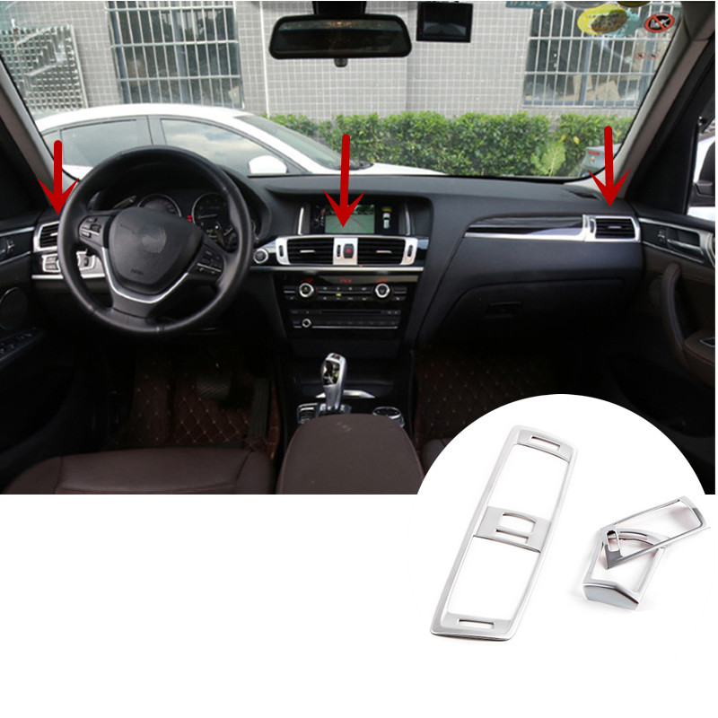 ФОТО Inner Centre & Side AC Air Vent Outlet Cover Trim For BMW X3 F25 2011-2015 3pcs