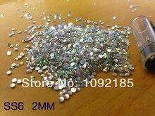 Productos del sexo de la venta caliente ss6 2mm 10000 pc/lot cristal abflat rhinestones de acrílico para el arte del clavo envío gratis