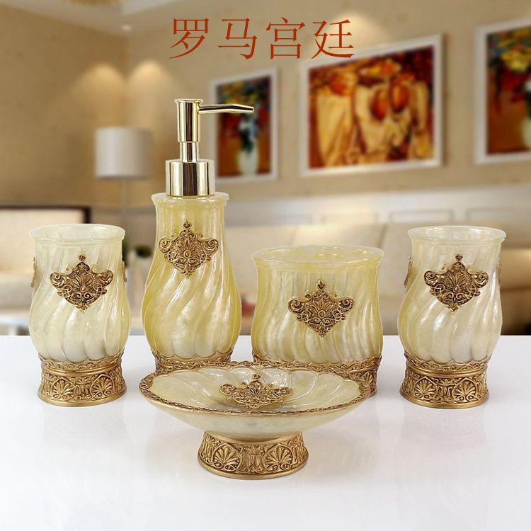 Fashion resin bathroom set of five pieces bathroom toiletries set cup brush toothbrush holder birthday wedding gift