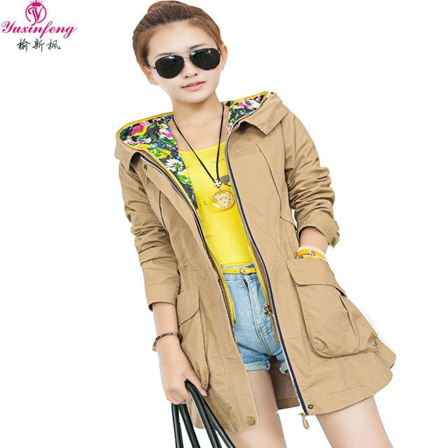 2017 Del Otoño Del Resorte de Las Mujeres Trench Coat Casual Abrigos de Algodón Con Capucha Mujer Plus Tamaño Medio Largo Outwear Mujeres Coreanas Rompevientos