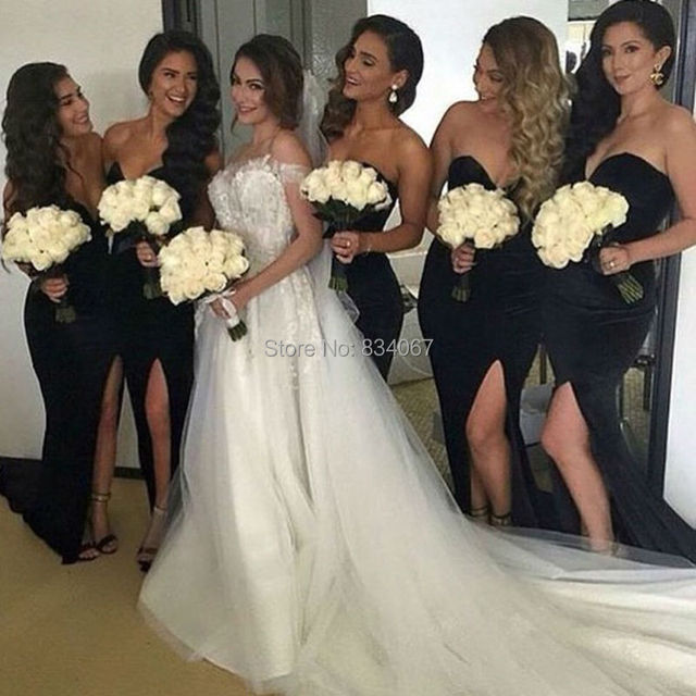 dress Black mermaid bridesmaid