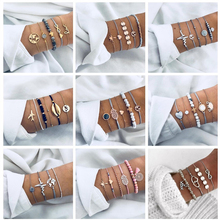 docona Bohemian Shell Map Letter Layered Bracelet set for Women Geometric Heart Beads Tortoise Bracelet Bangle Pulseiras chic heart geometric bracelet for women