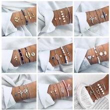 Docona Bohemian conchas mapa letra capas pulsera set para mujeres geométricas corazón cuentas brazalete con dije de tortuga brazalete Pulseiras
