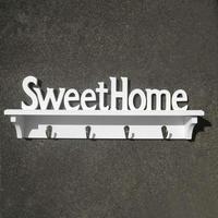 SweetHome מדף קיר קרס עץ לבן עץ ריהוט דקורטיבי מדפי קיר לסלון בית מדף קולב מחזיק מפתחות