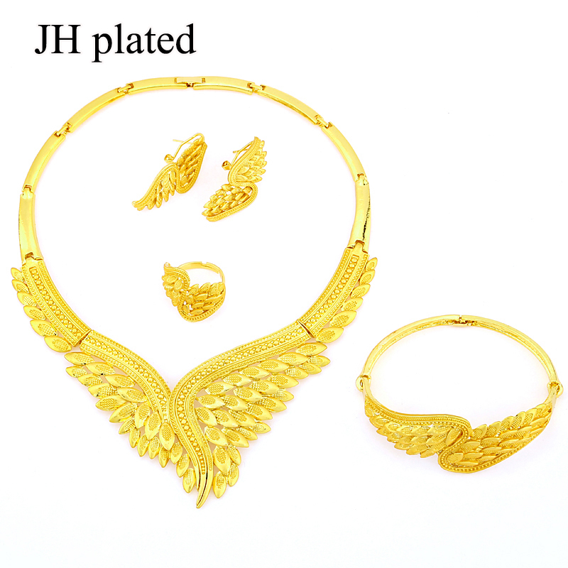 JHplated Ethiopia African Fashion gold color Wedding Jewelry set Necklace Earrings Ring Bride Jewelry Sets for women best gifts