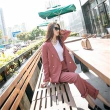 Fashion new casual loose temperament double breasted suit two sets