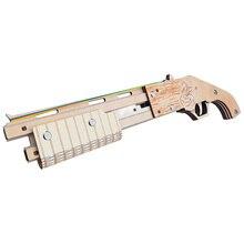 3D Wooden Puzzles Kids Toys Mossberg Shotgun Puzzle Model  DIY Rubber Band Gun For Children